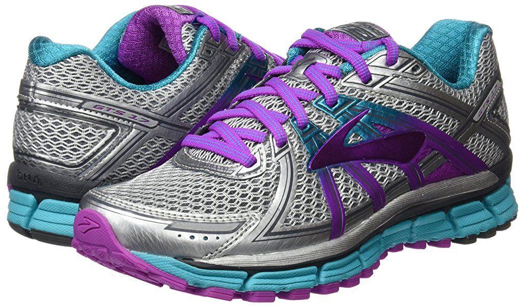 Brooks Women S Adrenaline Gts 17 Silver Purple Cactus Flower Bluebird 8 B Us Women Brooks Womens Running Shoes