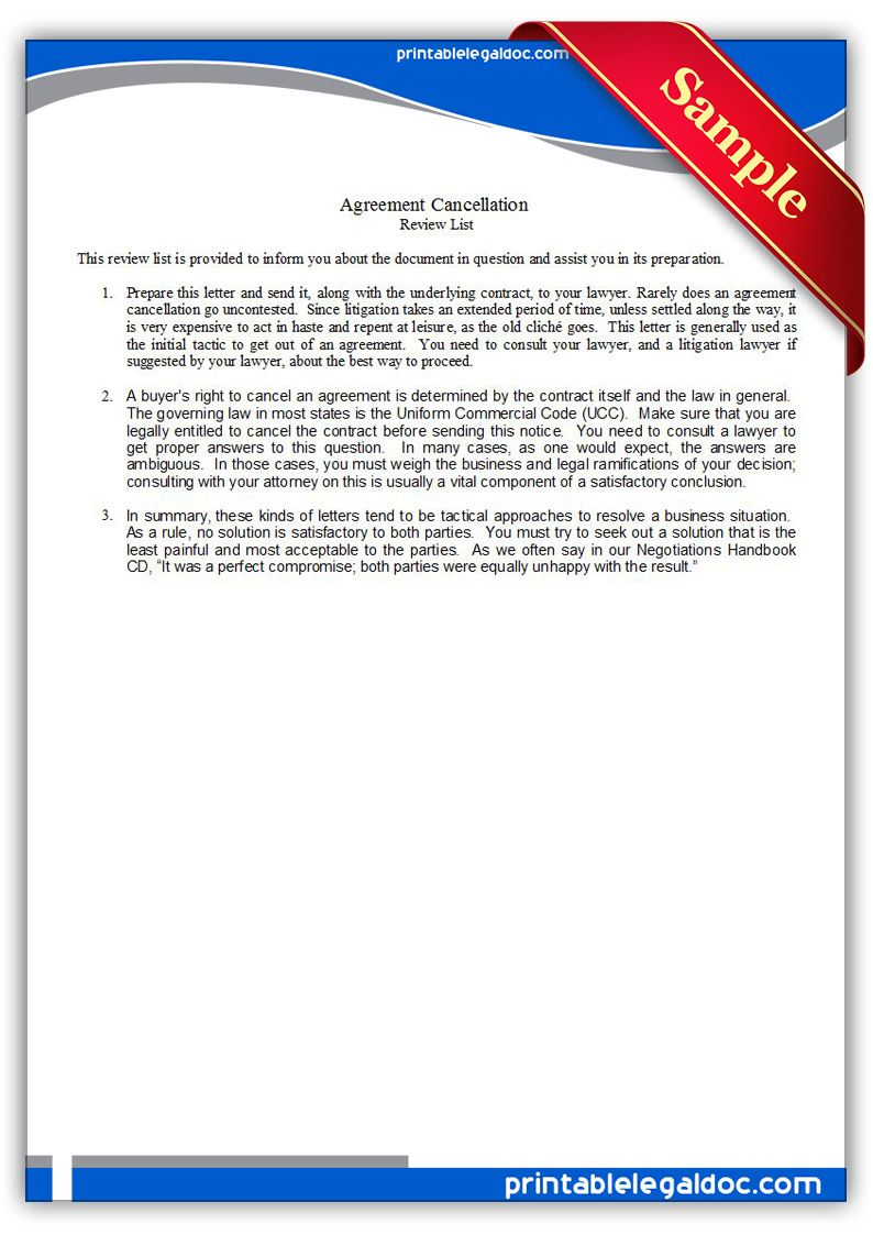 Free Printable Agreement Cancellation Legal Forms  Free Legal