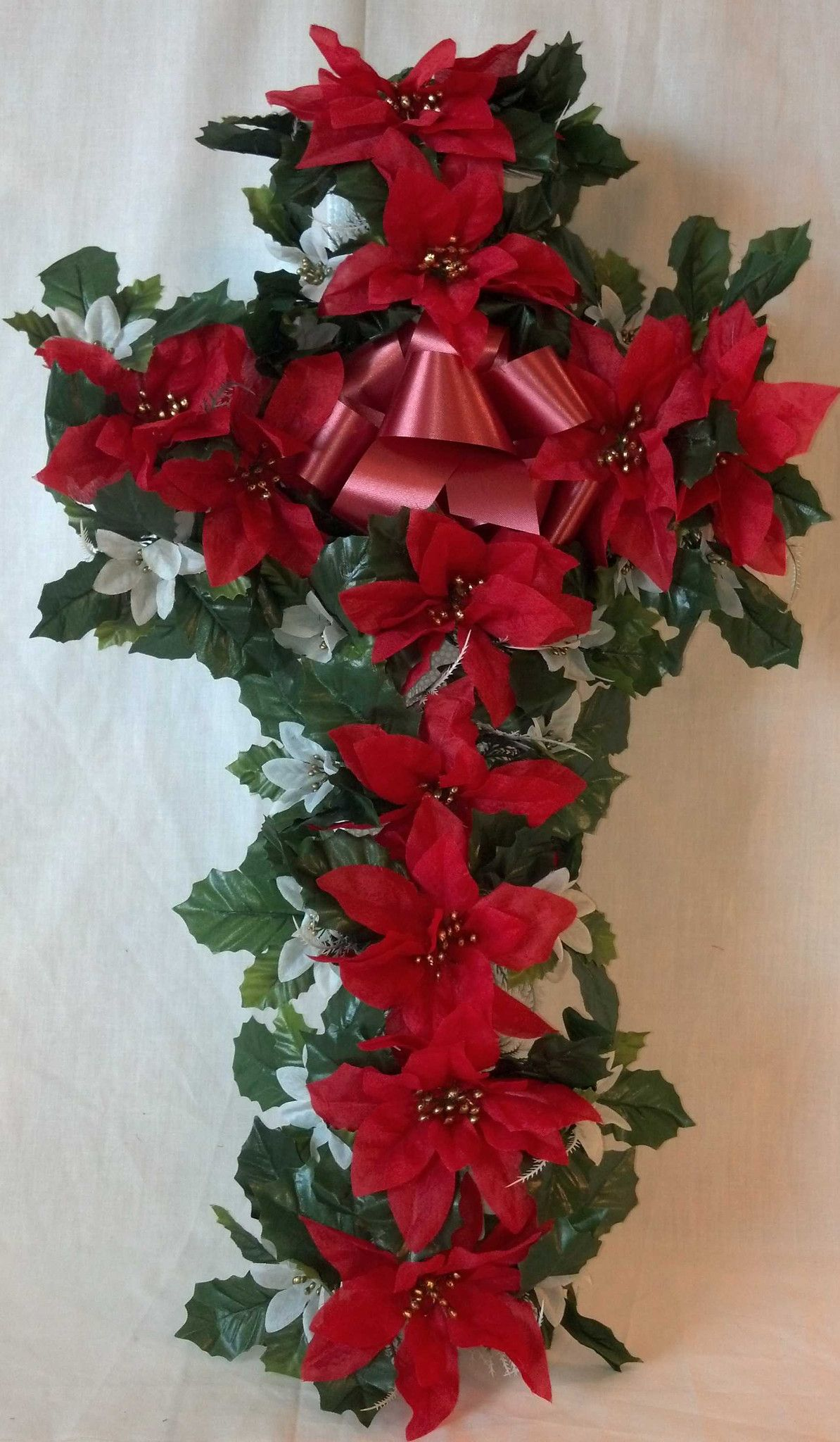 Christmas Poinsettia Cross Christmas floral arrangements