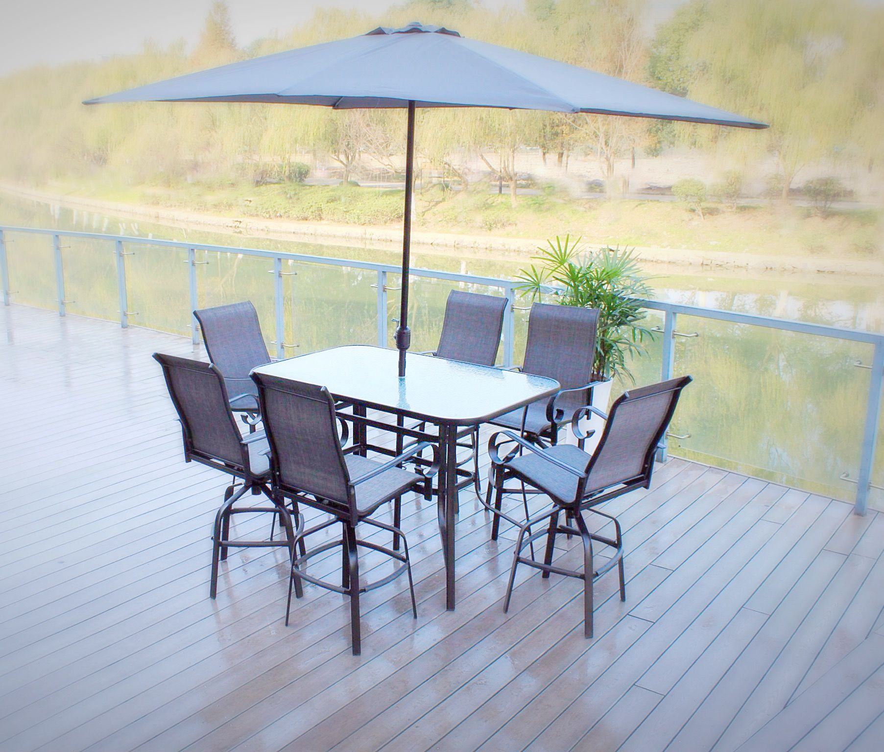 Santa Monica 7pc Swivel Sling Patio Bar Dining Set (Black/Grey) With  Rectangle
