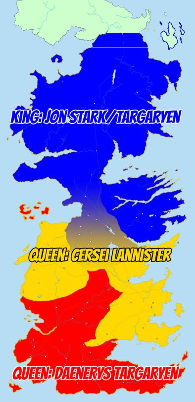 Political map of Westeros by the end of Season 6 of Game of ...