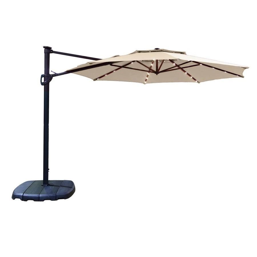 Simplyshade 11 Ft Octagon Tan With Black Aluminum Frame Solar Powered Auto Tilt Offset Patio Umbrella And Base Lowes Com Offset Patio Umbrella Patio Umbrella Cantilever Patio Umbrella