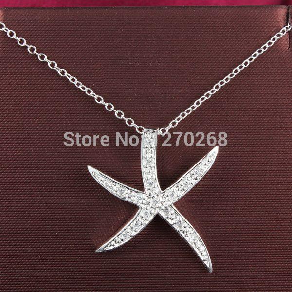 Gioielli di Moda Argento Sea Star pendente della collana P030 con zircone carino regalo Di Natale Top quality