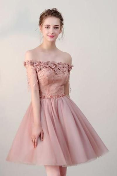 6213595092 Chic Short Pearl Pink Off-the-shoulder Homecoming Dress,Tulle Cheap Prom  Dresses OK511