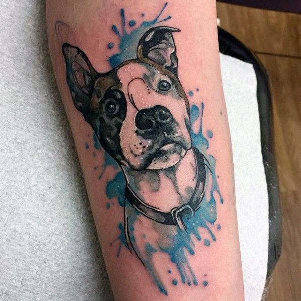 Funny Cartoon Like Colored Little Cute Dog Portrait Tattoo On Arm