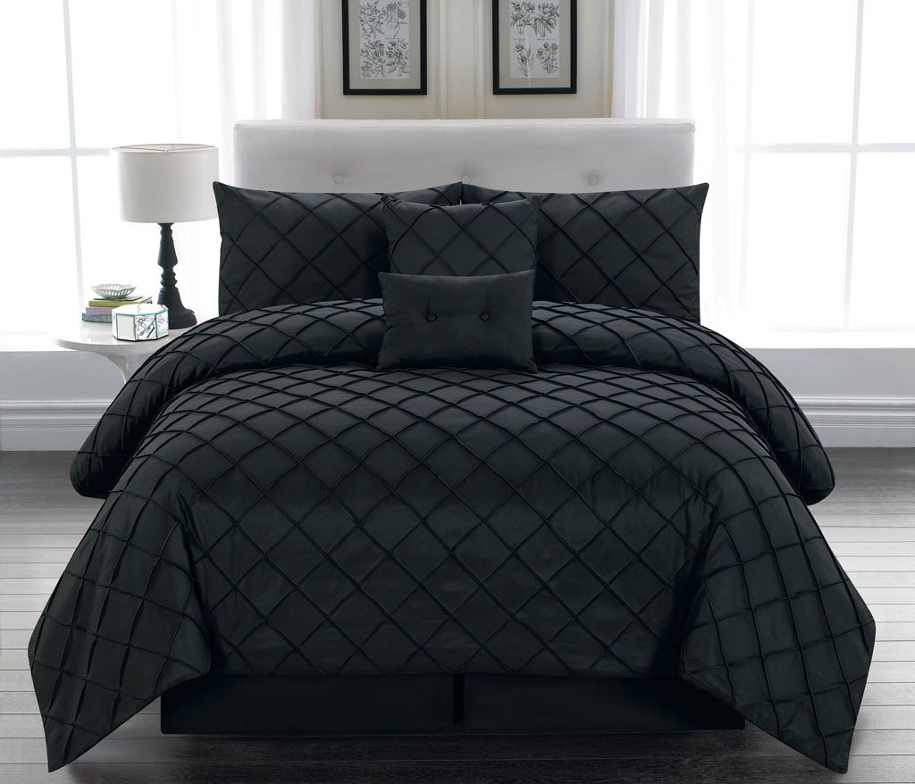 10 piece queen melia black bed in a bag set