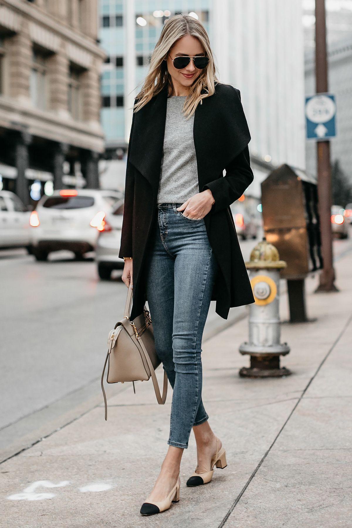 726dd423410 Blonde Woman Wearing Black Wrap Coat Grey Sweater Denim Skinny Jeans Chanel  Slingbacks Celine MIni Belt Bag Fashion Jackson Dallas Blogger Fashion  Blogger ...