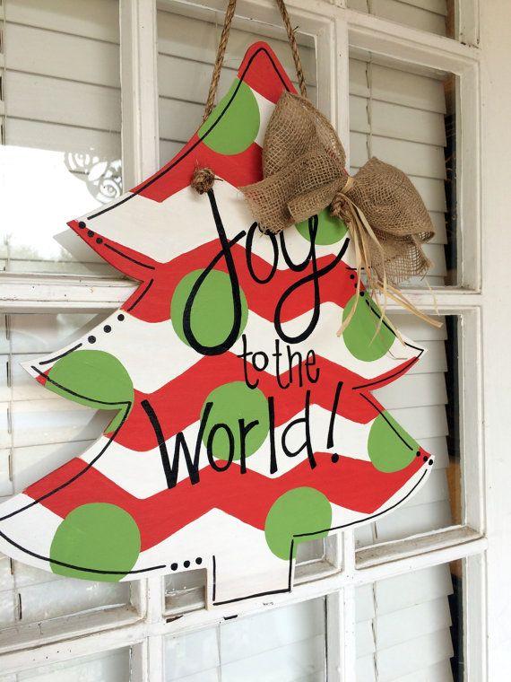 Christmas Tree Quot Joy To The World Quot Wooden Door Hanger By