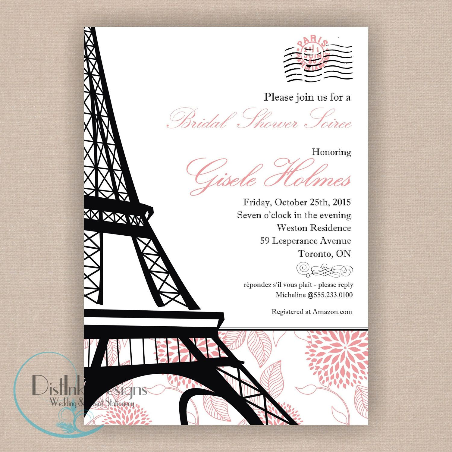 Paris Bridal Shower Invitation Printable 5x7 Eiffel Tower