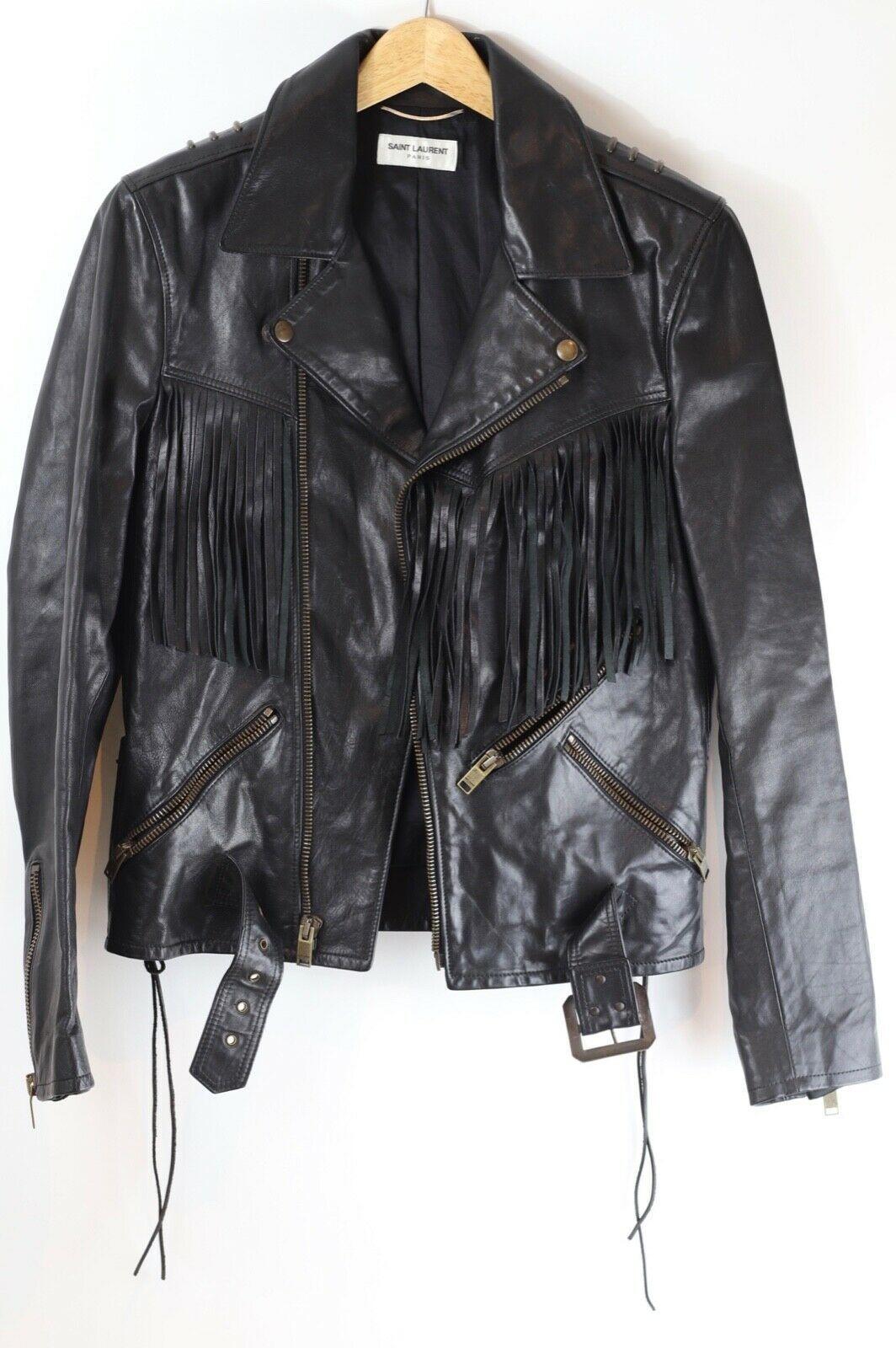 Saint Laurent Paris Sample Fringed Leather Jacket Size S