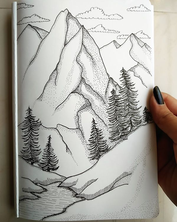 Mountain Dotwork Illustration Meaningful Drawings Pencil Art Drawings Landscape Sketch