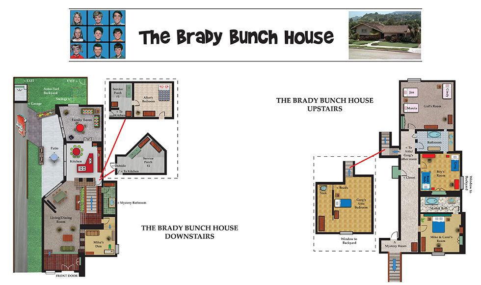 the real brady bunch house floor plan, brady bunch floor plan