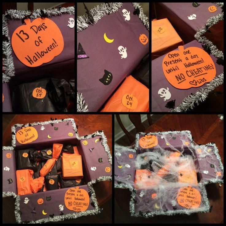 This is the care package I made for my boyfriend for the month of October! It's 13 days of Halloween themed. I wrapped the box in black paper and got cute stickers for really cheap to decorate it with and halloween garland to go around the border and the web to go on top. What's in the box is 13 different gifts for him to open for the 13 days of Halloween. Different snacks, candies, and silly Halloween things. I even put cute masks for him and his friends to wear as costumes for the 31 :) #spookybasketideasforboyfriend