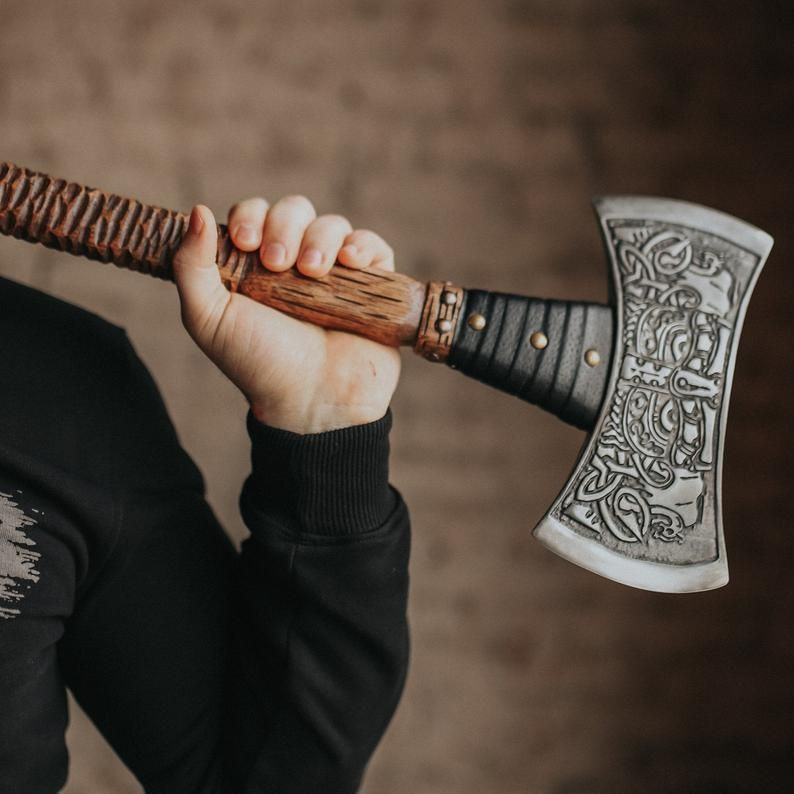 Handmade viking axe two handed berserker axe with etching