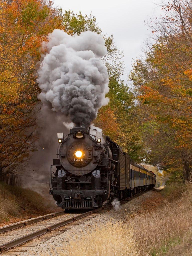 Vehicles Train Fall Locomotive Railroad In 2019 Steam