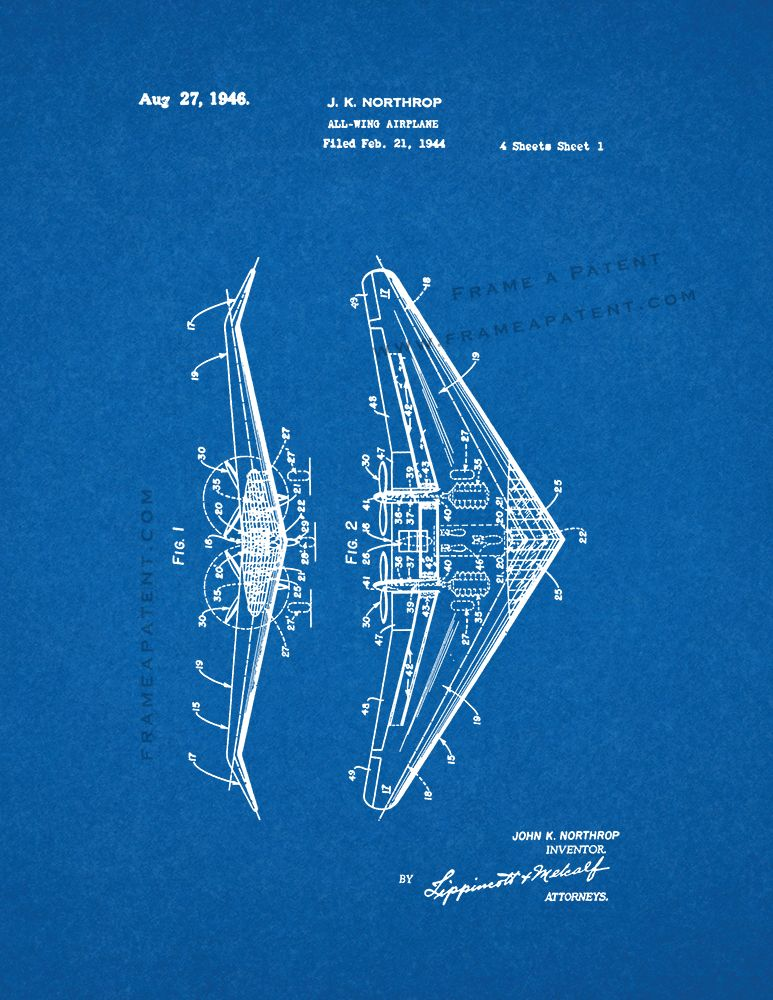 All-wing Airplane Patent Print - Blueprint (5x7) | Airplanes ...