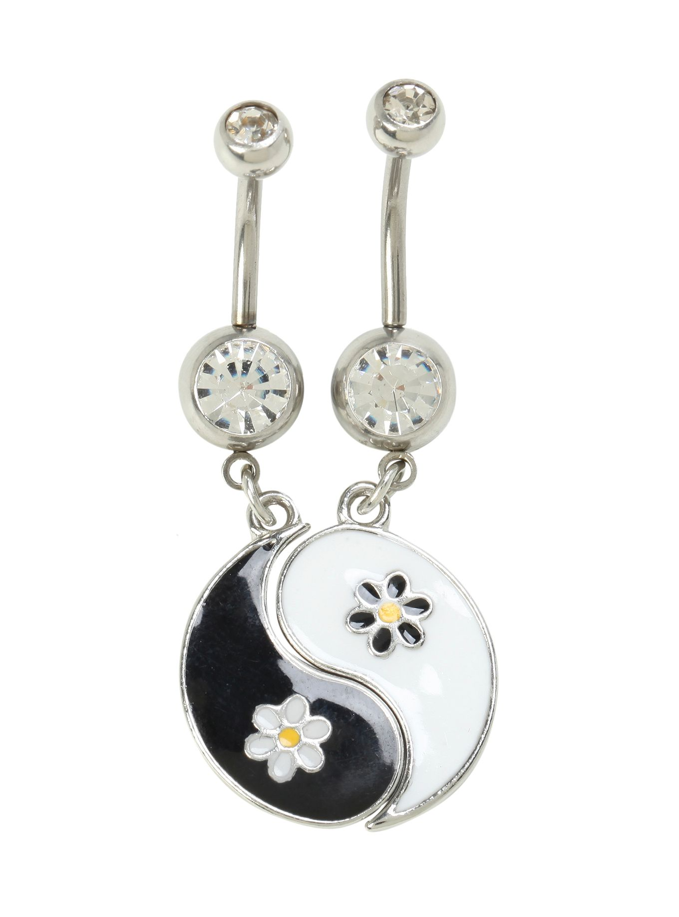 14g Steel Yin Yang Daisy Navel Barbell 2 Pack Hot Topic Navel Jewelry Navel Piercing Jewelry Belly Button Rings