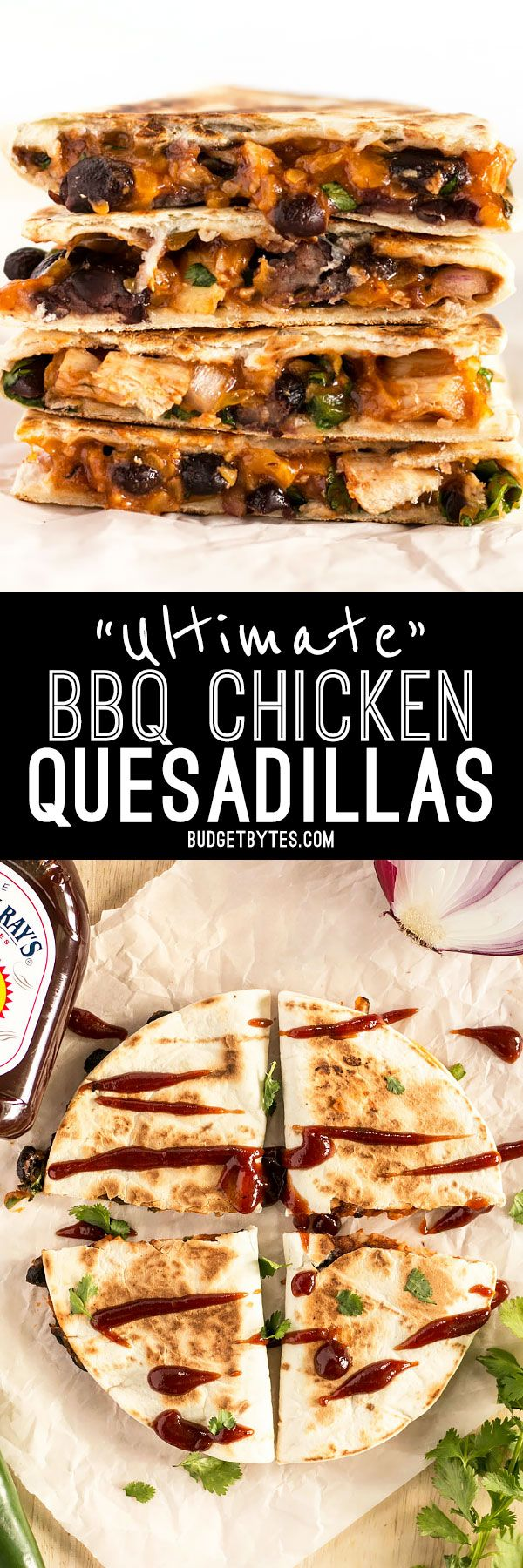 These Ultimate BBQ Chicken Quesadillas are packed with colorful ingredients and deliciously tangy Sweet Baby Ray's BBQ sauce! #ad BudgetBytes.com