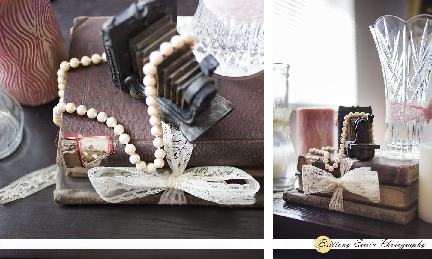 Vintage Wedding Centerpiece With Camera Lace Books Pearls Candles And Vases