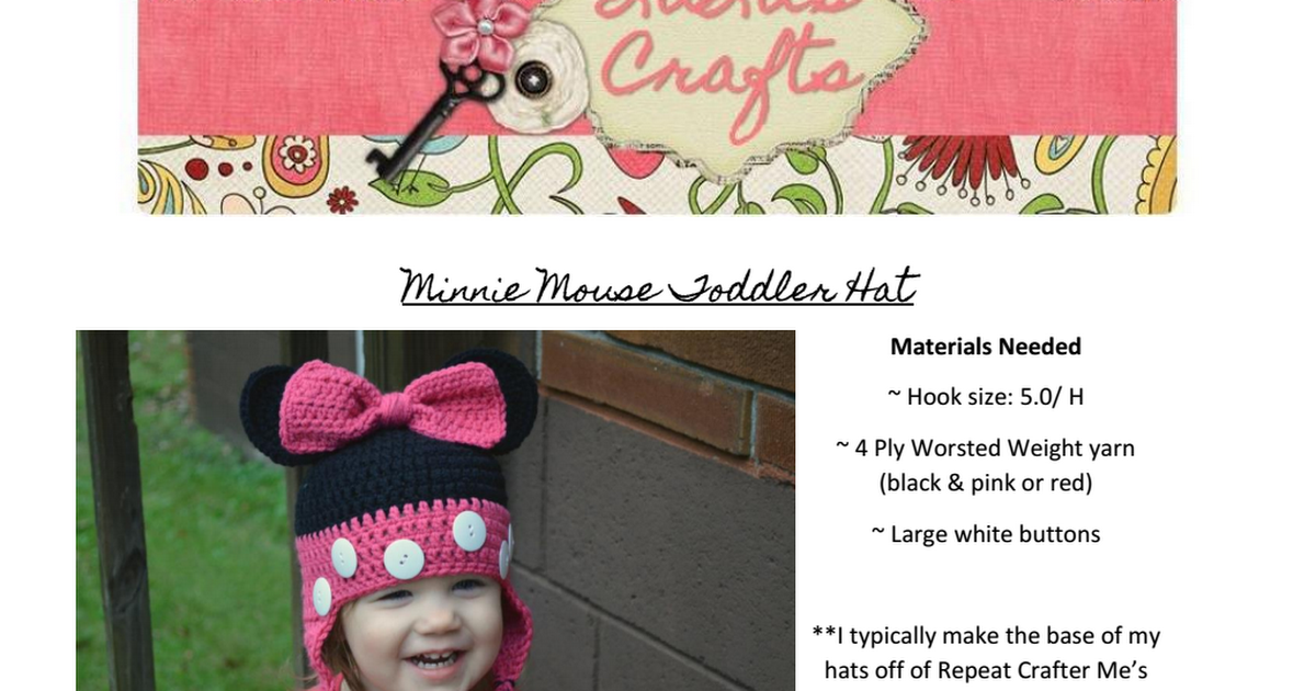 Minnie Mouse Toddler Hat.docx.pdf | Natty | Pinterest