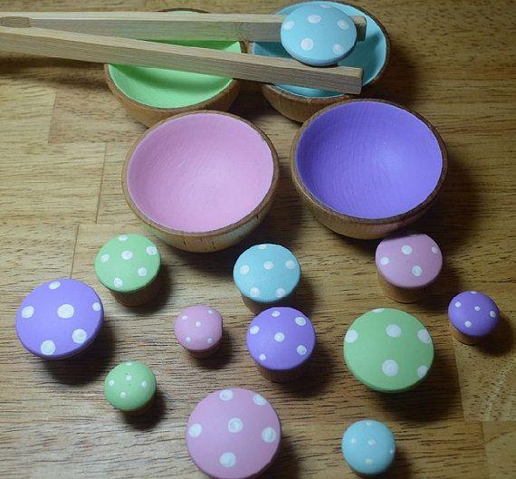 Sorting Bowls And Mushrooms Pastel by HouseMountainNatural on Etsy