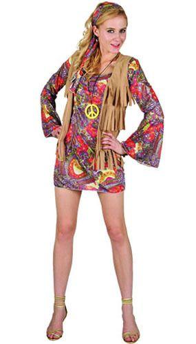 1ad0c26bb2b6 Disfraz de Hippie Años 60 vestido estampado adulto para mujer | Girl ...