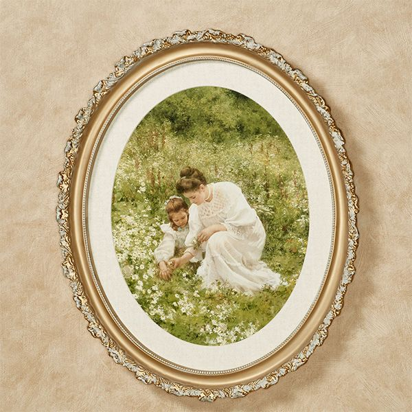 Picking Daisies Mother And Daughter Framed Wall Art In