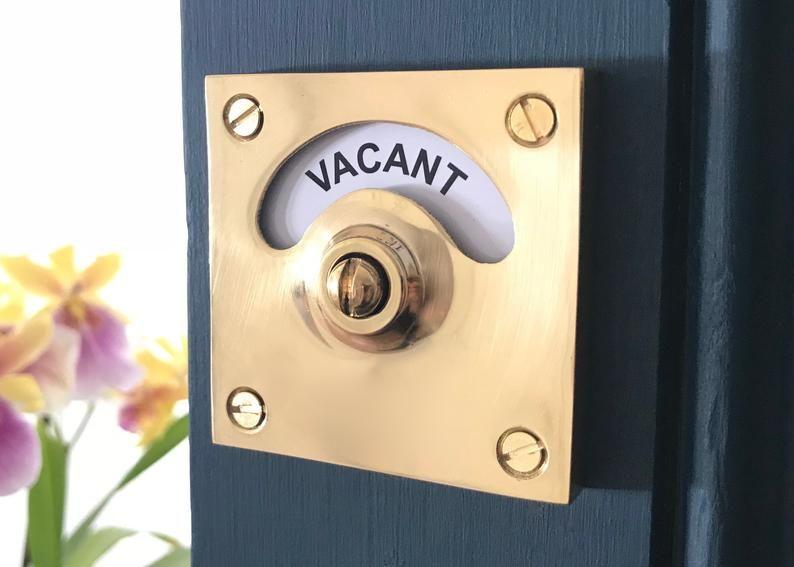 Vacant Engaged Brass Lock Bolt Indicator Bathroom Toilet Door Etsy In 2020 Toilet Door Bathroom Door Locks Pocket Doors Bathroom