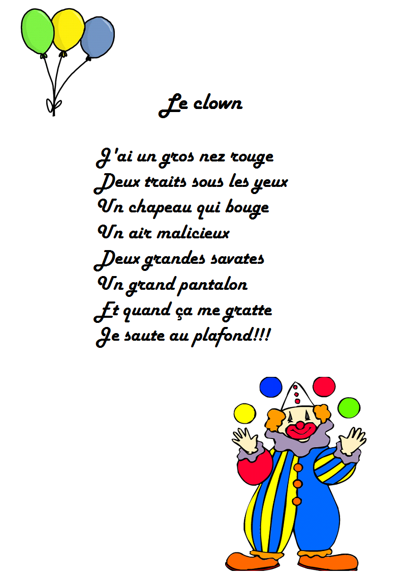 Jai Un Gros Nez Rouge : rouge, Comptine, Clown, Rouge, Paroles, Illustrées,