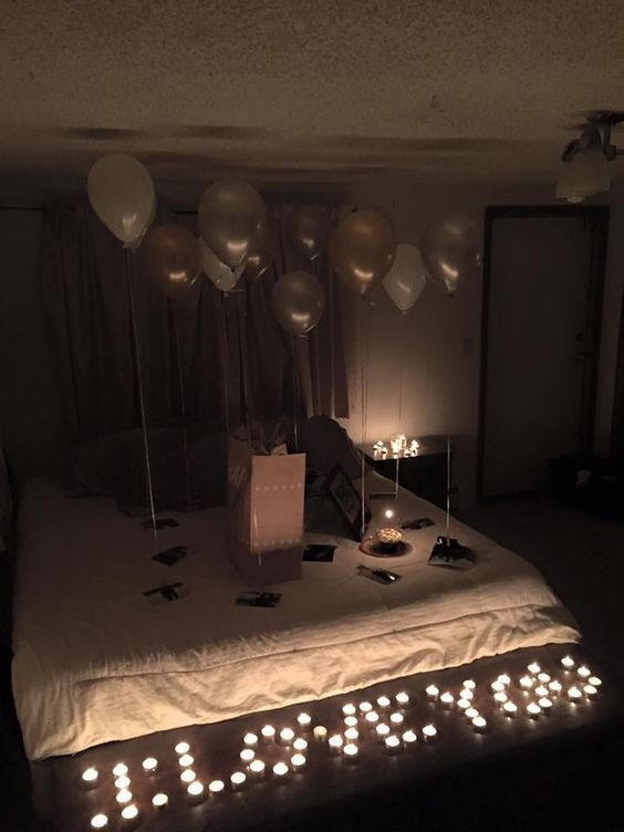 Romantic valentines bedroom decorating ideas anniversary surprise for him also  love you tea lights diy valentine ts birthday rh ar pinterest