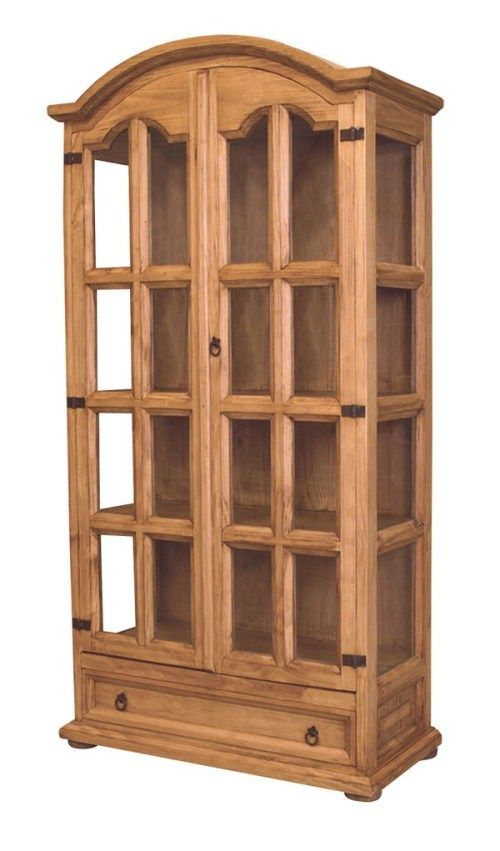 Mexican Pine Furniture Curio Cabinet