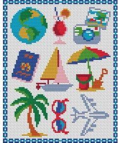 Grille point de croix voyage la mer et ses poissons au point de croix pinterest grille - Grille point de croix mer ...