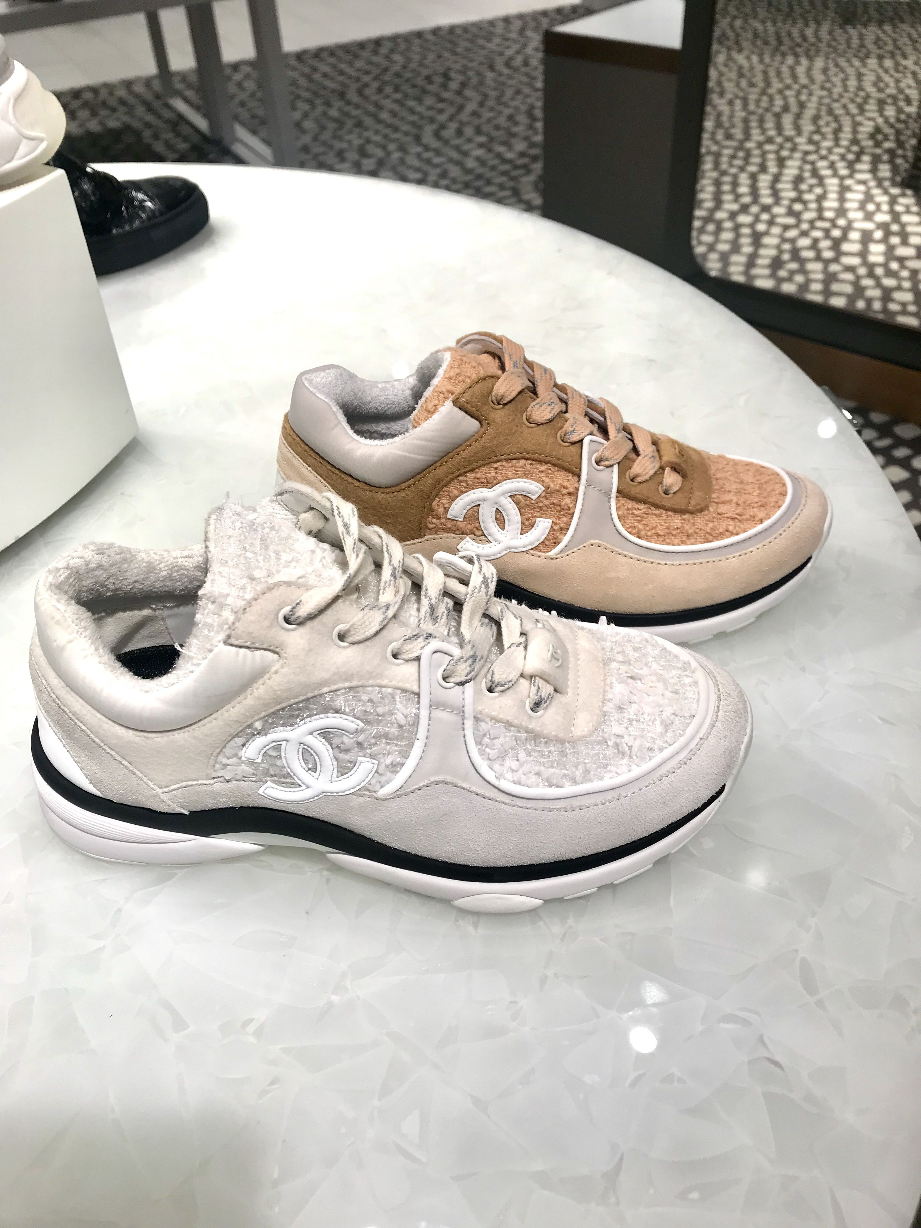 2019 Chanel White Tweed Sneakers