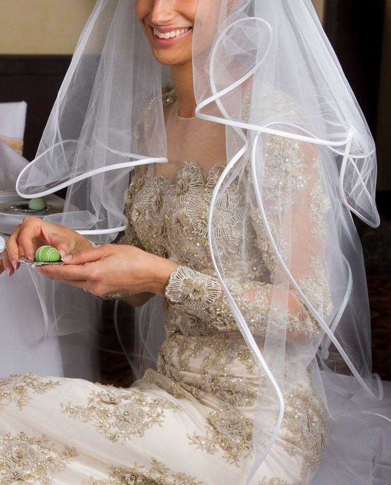 White Four Tier Ribbon Edge Veil Ribbon Edge Veil Wedding Dresses Lace Veil