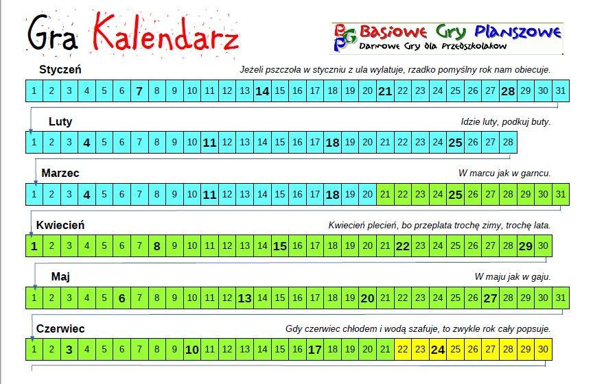 Kalendarz Gra Planszowa Basiowe Gry Planszowe