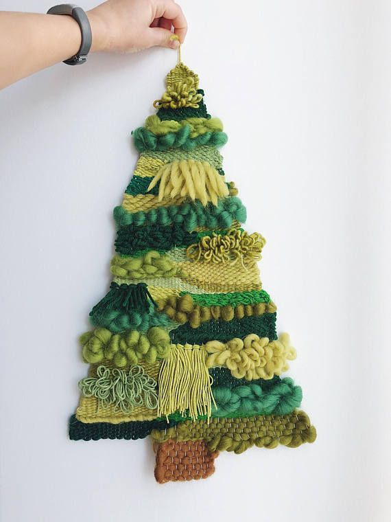 Green Woven Christmas Tree Tapestry Weaving Yarn Crafts Weaving Wall Hanging