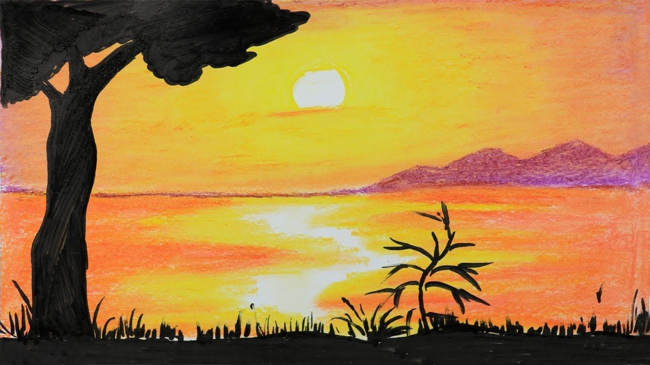 African Sunset Step By Step Drawing With Oil Pastel Very Easy