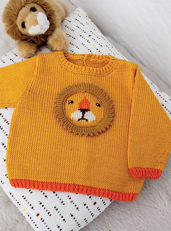 Free Knitting Pattern For Lion Baby Sweater Knitted Baby