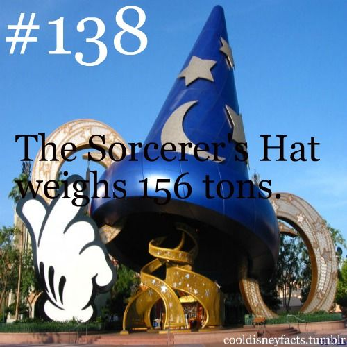 The Sorcerer's Hat weighs 156 tons  Lets hope that never collapses on anyone   kinda makes me never want to walk under it  is part of Disney fun facts -
