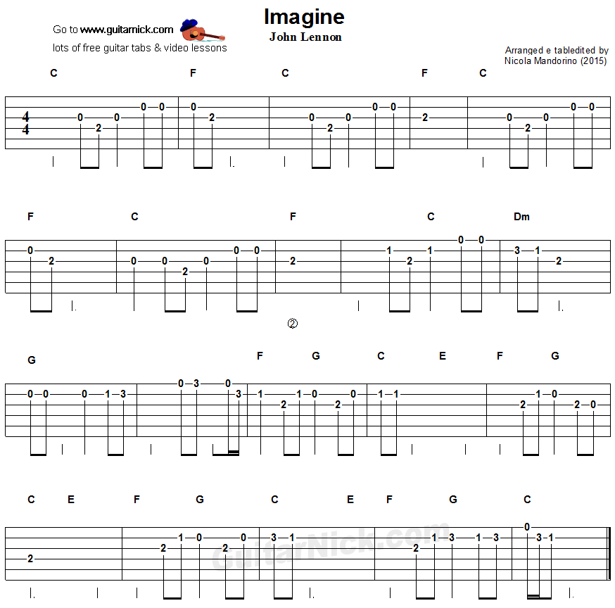 Guitar Chord Tabs: Imagine - Easy Guitar Tablature