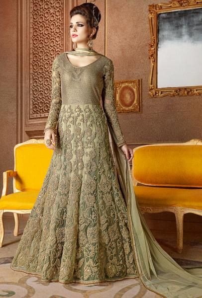 b3a4693b8c Pista Green Designer Party Wear Dress | ex | Anarkali suits, Choli ...