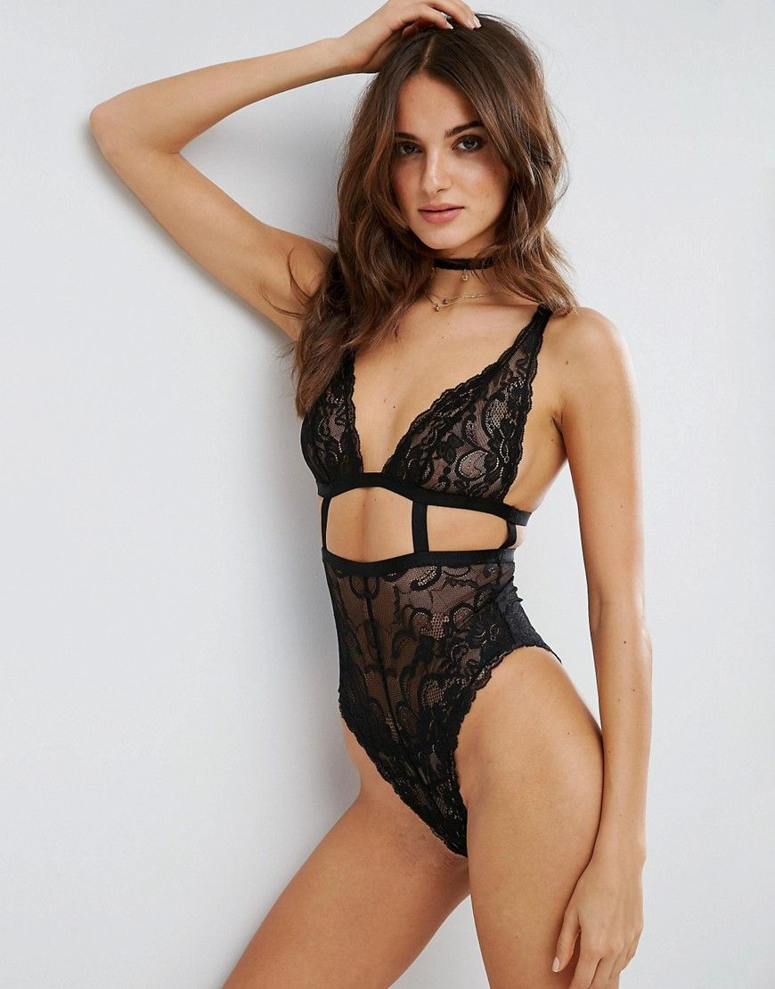 6665e4ac95 ASOS Gia High Apex Lace Cut Out Bodysuit - Black