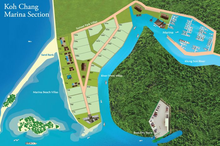 Siam Royal View's Marina section offers buyers the opportunity to purchase some of the most exclusive property on Koh Chang.   Plots can be sea or river fronted and allow purchasers to build a luxury custom villa to their own design.   The Marina section also includes low rise condominiums, perfect for a weekend and holiday retreat.