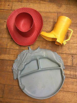 Vintage Child s Plastic Cowboy Dish Set 1950S  Boot Cup a2eb3fe87c61