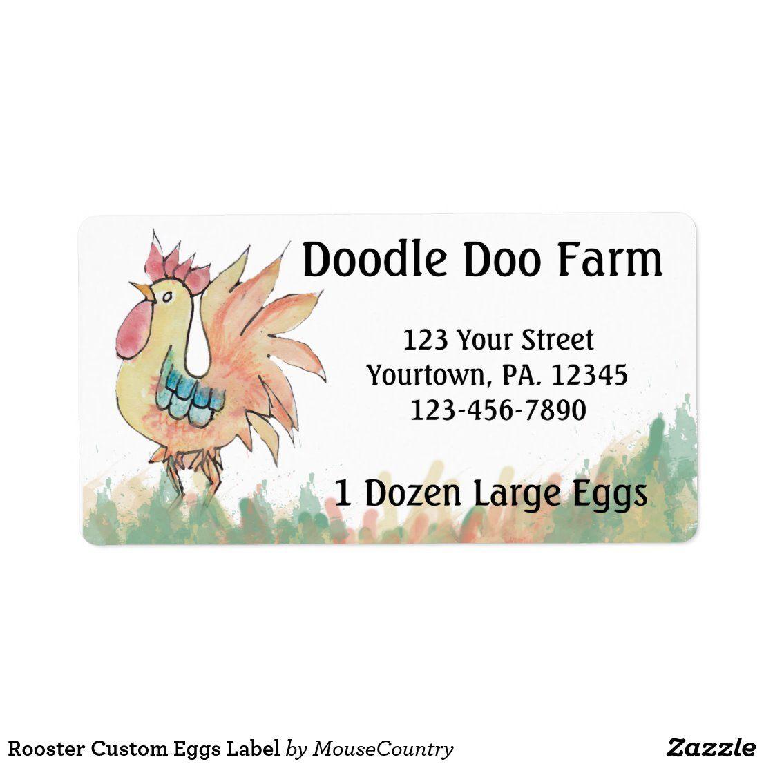 Rooster Custom Eggs Label