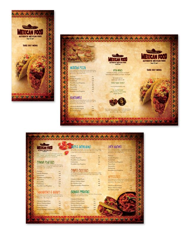 Mexican restaurant take out menu template http www for Take out menu
