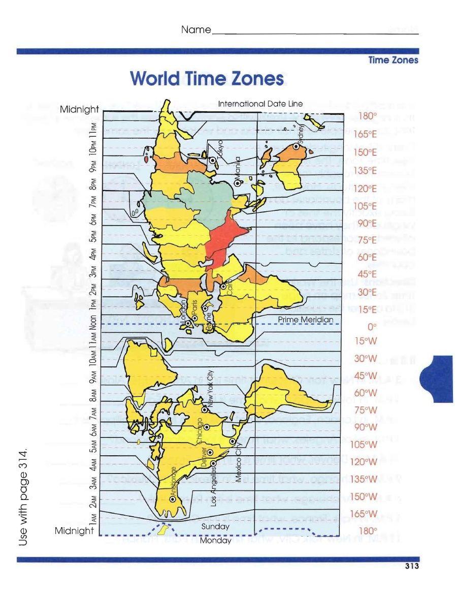 Worksheets Time Zones Worksheets global geography worksheets 6 time zones zones