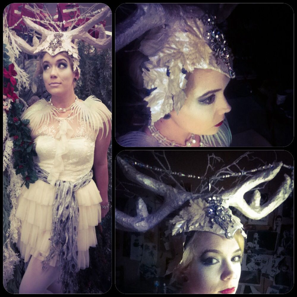 Woodland fairy costume accomplished! Antlers built up with paper mâché, spray snow for texture lots and lots of spray glitter, Golden acrylic paint. Also with hand painted twigs and leaves and bejeweled with various crystal beads and broaches! Halloween 2014 a success
