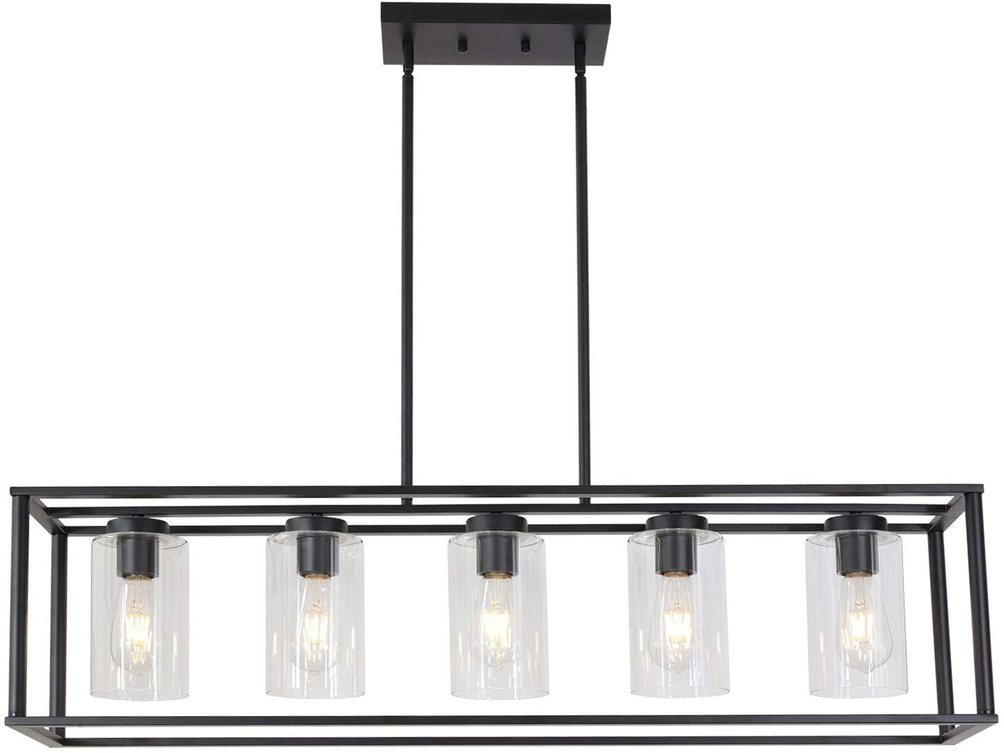 Vinluz Contemporary Modern Chandeliers Rectangle Black 5 Light Dining Room Lightin In 2020 Dining Light Fixtures Dining Room Lighting Modern Dining Room Light Fixtures
