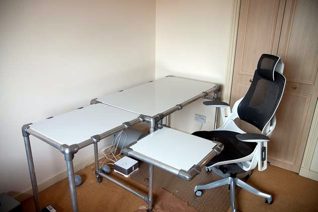 5. Computer Desk with Custom Swing Outs and Shelving